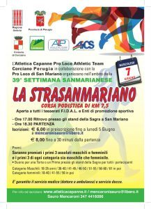 PERUGIA, IL 7 GIUGNO TORNA LA PODISTICA STRASANMARIANO @ San Mariano | San Mariano | Umbria | Italia