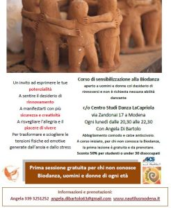 MODENA, CORSO DI SENSIBILIZZAZIONE ALLA BIODANZA @ Modena | Modena | Emilia-Romagna | Italia