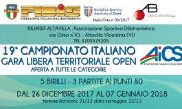BILIARDO, CON AICS A VICENZA IL 19° CAMPIONATO ITALIANO