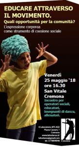 """CREMONA, SEMINARIO """"EDUCARE ATTRAVERSO IL MOVIMENTO. QUALI OPPORTUNITA' PER LA COMUNITA' – l'espressione corporea come strumento di coesione sociale"""" @ Cremona   Cremona   Lombardia   Italia"""