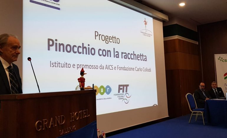 """SPORT PER TUTTI, AVVIARE I PIU' PICCOLI AL TENNIS CON """"PINOCCHIO CON LA RACCHETTA"""""""
