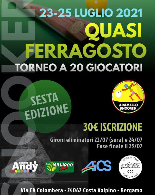 """BERGAMO, TORNEO DI BILIARDO """"QUASI FERRAGOSTO"""" (23-25 LUGLIO)"""